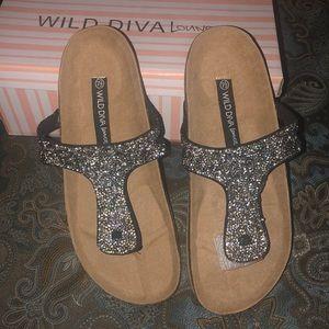 Wild Diva Kassidy Black Jeweled Thong Sandal
